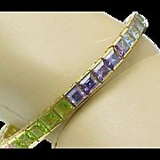 Sterling Silver/Vermeil Colorful Princess Cut Gemstone Tennis Bracelet