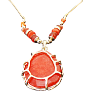 "Large Simulated Coral Pendant & Gold Tone Long 30"" Necklace"