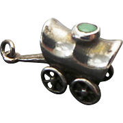 Vintage Sterling Silver,Chrsoprase Covered Wagon Charm/Pendant