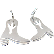 Southwestern/ Mexico LARGE Sterling Silver Pierced Dangle Cowboy Boot Earrings