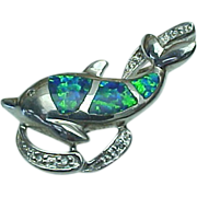 Vintage Sterling Silver, Created Opal & Diamond Dolphin Pendant