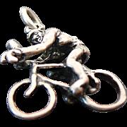 Sterling Silver three Dimensional Cyclist Charm