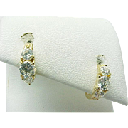 14K Yellow Gold Simulated Diamond Huggie Earrings