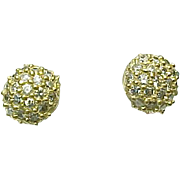 14K Yellow Gold, Faux Diamond Cluster Pierced Post Earrings