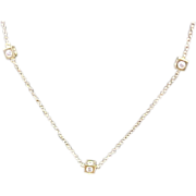 """14 K Yellow Gold Faux Diamond Cube Necklace 18"""""""
