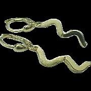 14K Yellow Gold Lever Back Dangle Earrings