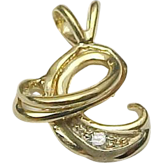 Vintage 14K Yellow Gold Diamond Alphabet / Letter Charm C