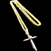 14K Yellow Gold Diamond Cross/Necklace