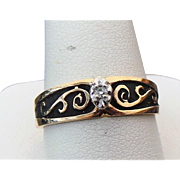 10k Yellow Gold, Black Enameled Diamond Solitaire Ring