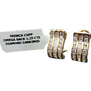 14K Yellow Gold French Cuff 1.25 Carat Diamond Earrings