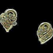 14K Yellow Gold Diamond Heart Pierced Post Earrings