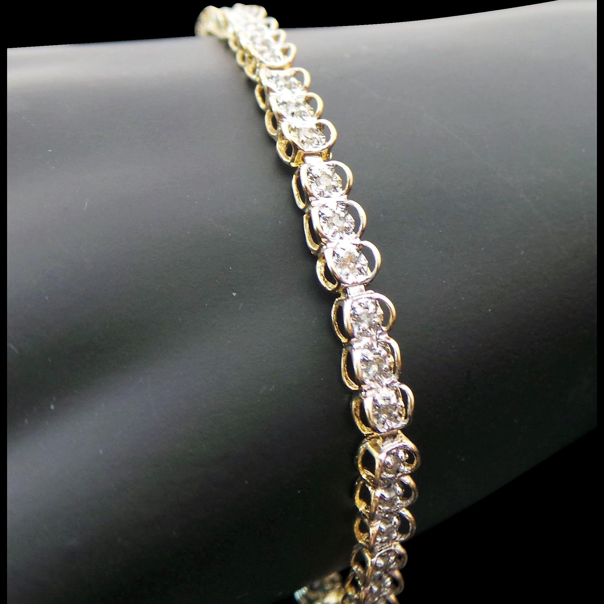 10k Yellow Gold 50 Carat Diamond Tennis Bracelet From