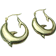 14K Yellow Gold Pierced Large Dolphin Hoops
