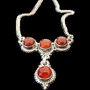 Vintage Sterling Silver Drop Amber Necklace