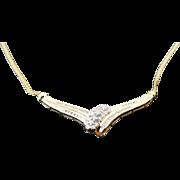 10K Yellow Gold Diamond Cluster Drop Necklace ~ 1.00 Carat~
