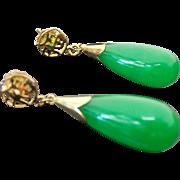 14K Yellow Gold, Pierced Post Apple Green Jade Drop Earrings