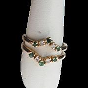 Vintage 14K Yellow Gold, Emerald & Diamond Wedding Ring Wrap/Guard