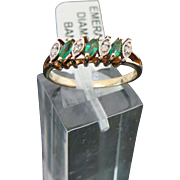 10 K Yellow Gold Emerald & Diamond Band