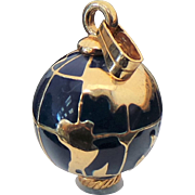 Beautiful Blue & Gold Enameled World Globe Pendant
