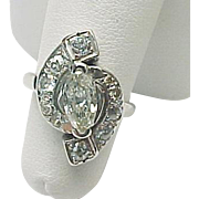 Vintage 14K White Gold 1.00 TCW Marquise & Rose Cut Diamond Ring
