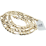 "14K Yellow Gold 25"" Length Figaro Chain"