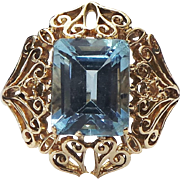 14K Yellow Gold, Filigree 4.00 Carat Rectangle Topaz Ring