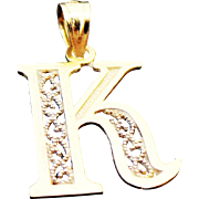 14K Yellow Gold, Filigree Initial K Pendant