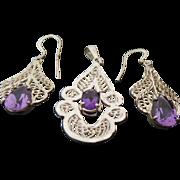 Sterling Silver Filigree Pear Shape Amethyst Pendant & Pierced Dangle Earrings