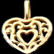 14K Yellow Gold Small Filigree Heart Charm