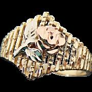 14K Rose & Yellow Gold, Filigree Diamond Cut Rose Ring