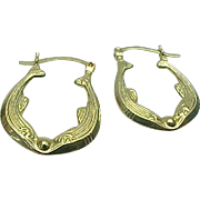14K Yellow Gold Double Fish Hoop Pierced Earrings