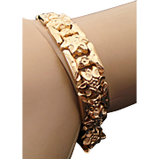 18K Yellow Gold Flower Link Art Deco Bracelet