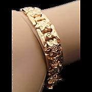 18K Yellow Gold Flower Link Art Deco Bracelet