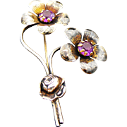 Sterling Silver/Vermeil Purple Paste Flower Brooch