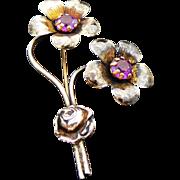 Sterling Silver/Vermeil Purple Paste Flower Brooch