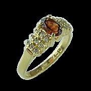 Beautiful 14 K Yellow Gold .50 Carat Garnet & .25 Cart Diamond Ring ~ Inscribed I Love You Inside~
