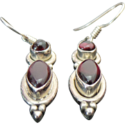 Sterling Silver Pierced Dangle Garnet Earrings