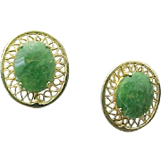 Vintage 12K Gold Filled Jade Screw Back Earrings