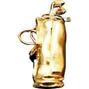 14K Yellow Gold GOLF Bag & Clubs Pendant