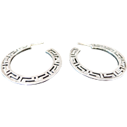 Sterling Silver Greek Key Hoop Earrings