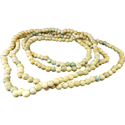 Vintage 3.75 mm Green Agate Long Necklace