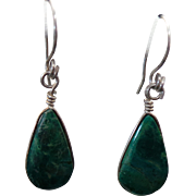 Sterling Silver Pierced Wire Dangle Green Turquoise Earrings