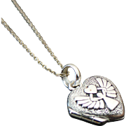 Sterling Silver Guardian Angel Watch Over Me Heart Locket Necklace