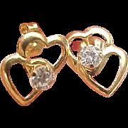 14K Yellow Gold Simulated Diamond Double Open Heart Pierced Post Earrings