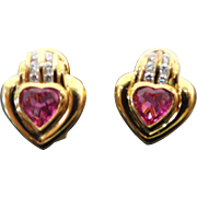 Exquisite 18K Yellow Gold, 1.00 Karat Heart Pink Tourmaline  & Diamond Earrings