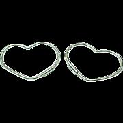 Sterling Silver Wire Heart Hoop Earrings