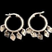 Gorgeous 14 Karat Yellow Gold Dangle Diamond Cut Hearts, 20mm Hoop Earrings