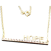14k Yellow Gold HOPE Bar Necklace 18""