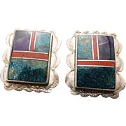 Sterling Silver Inlaid Gemstone Pierced Post Decorative Earrings