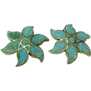 Vintage Sterling Silver Hand Made Inlaid Turquoise Clip On Earrings